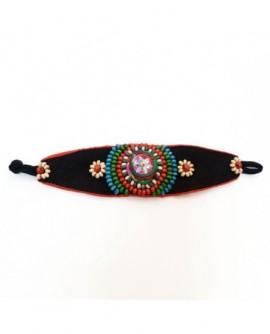 Manchette style ethnique coton multicolore (Bracelet)