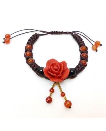 Rose rouge et perles orange (Bracelet)