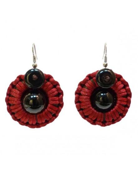 Satin rouge et pierres noires (Boucles d'oreilles)