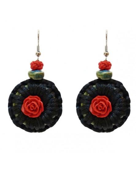 Satin noir à la rose Rouge (Boucles d'oreilles)
