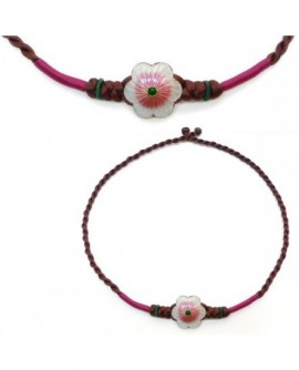 collier macramé satin marron fleur émail rose