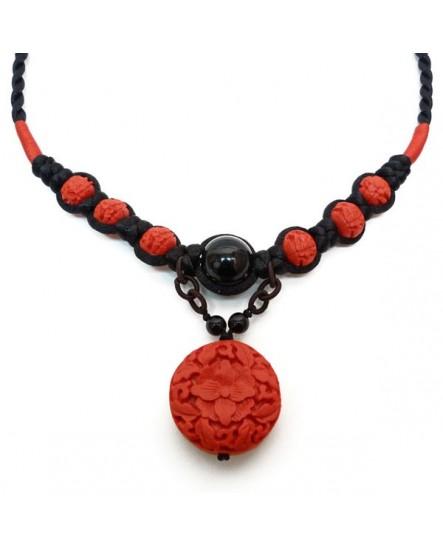 Perles Rouges et satin Noir (Collier)