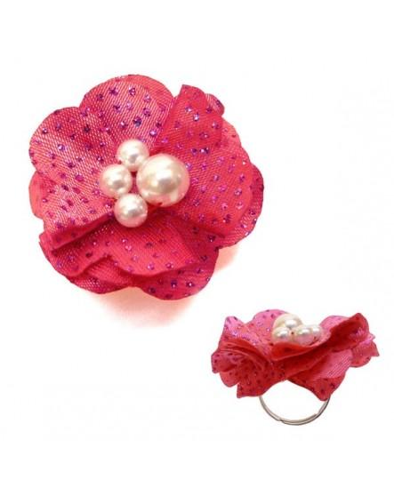 Fleur Rose Fushia  tissu pailleté (Bague – taille ajustable)