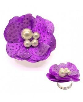 Fleur Violet  tissu pailleté (Bague – taille ajustable)