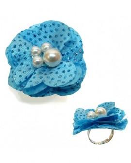 Fleur Bleu  tissu pailleté (Bague – taille ajustable)