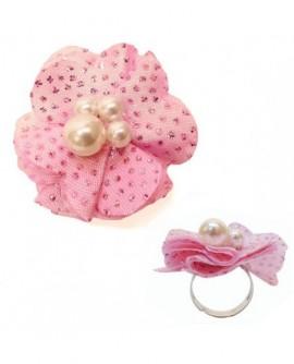 Fleur Rose Clair tissu pailleté (Bague – taille ajustable)