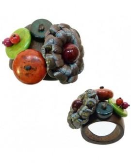 Bague multicolore Bois et Perles