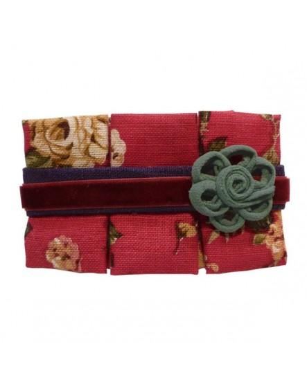 Coton Rouge À Motifs Velours et Fleur Verte ( barrette )