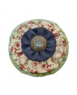 Rond Multicolore Coton Bleu,  Beige à Fleurs Rouge Et Vert  ( Pince à cheveux )