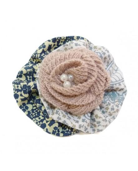 Ronde Coton Motifs Floral Bleu Beige Tricot Rose Pâle ( Barrette )