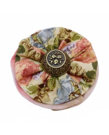 Chouchou rond à motifs floraux, tons Rose Vert Bleu.