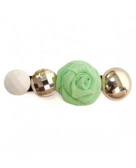 Rose en Tissu Vert,  Cabochons Blanc et Argenté  ( Pince à cheveux )