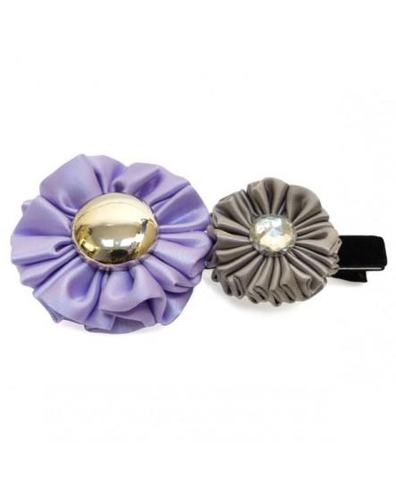 Froufrous de satin Violet Lilas et Gris Taupe  ( Pince à cheveux )