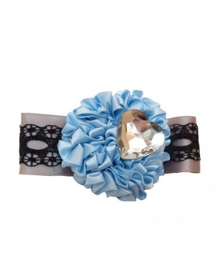 Satin Bleu et Coeur en strass ( Pince à cheveux )