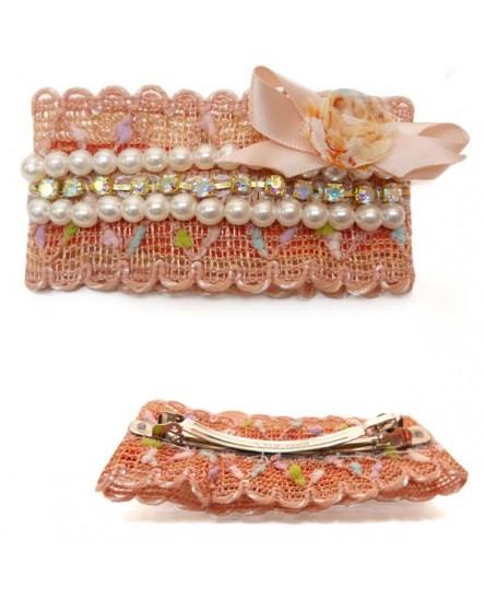 Dentelle Rose Saumon, perles et strass ( Barrette )