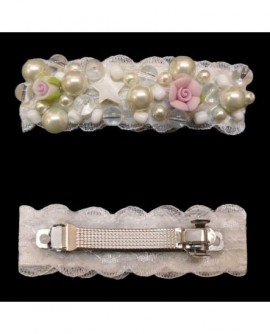 Dentelle Blanche, perles, étoile et roses ( Barrette )