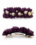 Tissu Violet et perles Blanches ( Barrette )