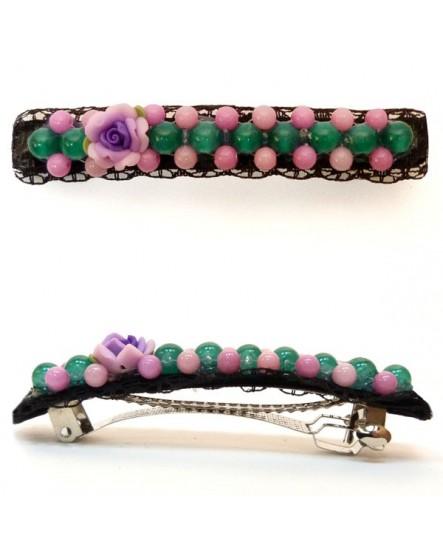 Perles Rose et vertes sur dentelle Noire ( Barrette )