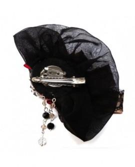 broche rouge et noire - satin dentelle perles nacrées strass