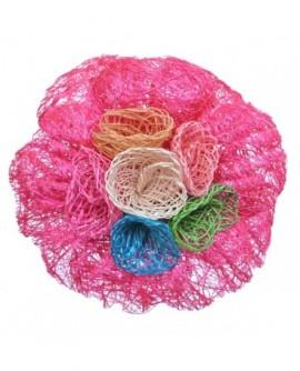 Fleur en sisal Fushia (2 fonctions : Broche et Pince à cheveux)