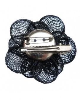 Fleur sisal Noire (2 fonctions : Broche et Pince à cheveux)