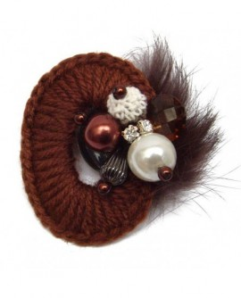 broche laine marron chocolat fêtes hiver