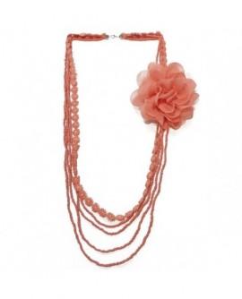 Dentelle, perles et fleur en tissu Orange Corail (Sautoir)