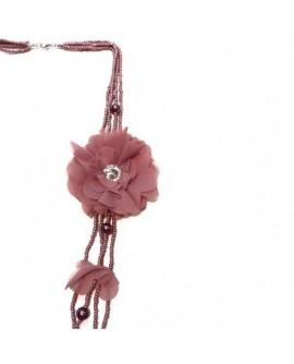 Fleur et pétales Vieux Rose (Sautoir)