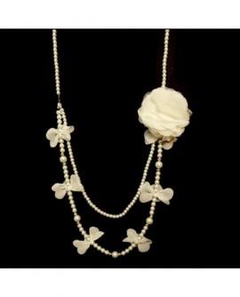 Sautoir avec broche fleur Blanc cassé