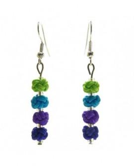 Noeuds Vert Turquoise Violet Bleu (Boucles d'oreilles)