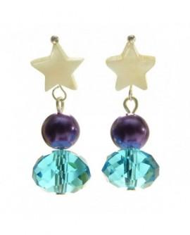 Étoile, perle et cristal (Boucles d'oreilles)