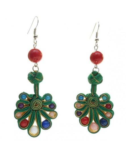 Ruban vert et doré, perles multicolores (Boucles d'oreilles)
