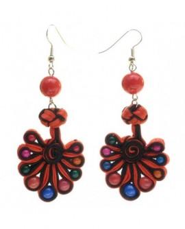 Ruban rouge et noir, perles multicolores (Boucles d'oreilles)