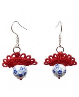 Éventail rouge et porcelaine (Boucles d'oreilles)