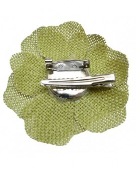 Fleur sisal Vert Absinthe (2 fonctions : Broche et Pince à cheveux)