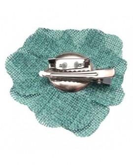 Fleur sisal Bleu Clair (2 fonctions : Broche et Pince à cheveux)