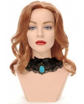collier ras de cou gothique lolita dentelle noir strass bleu