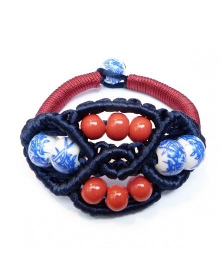 Macramé de satin et perles bleu et rouge (Bracelet)