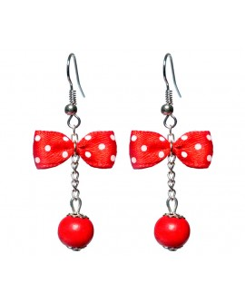 Boucles d'oreilles style Pin up noeud papillon à pois