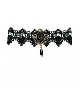 Collier dentelle noire gothique strass et petite goutte