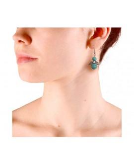 Boucles d'oreilles ange bleu turquoise et argenté