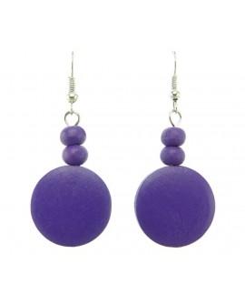 Boucles d'oreilles violettes rond bois violet