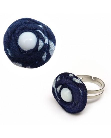 Fleur de tissu Bleu (Bague)