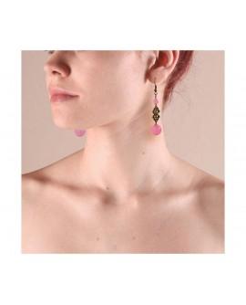Boucles D'oreilles pierres rose décor floral doré bronze