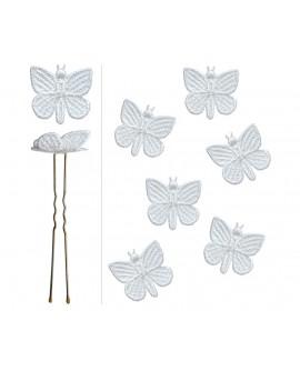lot de 6 épingles Papillons dentelle satinée blanche