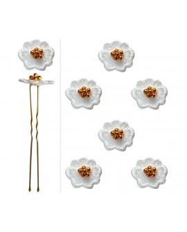 lot de 6 épingles de mariage fleur blanche grains dorés
