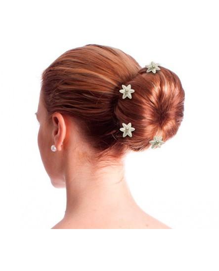 lot de 6 épingles fleur en dentelle et perle nacrée ivoire