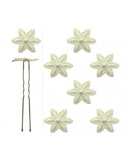 lot de 6 épingles fleur en dentelle