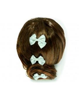 lot de 3 épingles noeud papillon satin blanc coiffure de mariage