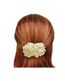 Barrette à cheveux mariage froufrou jaune pâle crème perles ivoire cristal